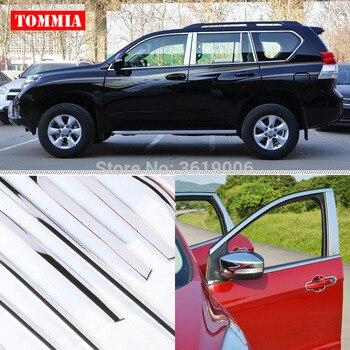 TOMMIA Full Window Middle Pillar Molding Sill Trim Chromium Styling Strips Stainless Steel For Toyota Prado 2010-2018