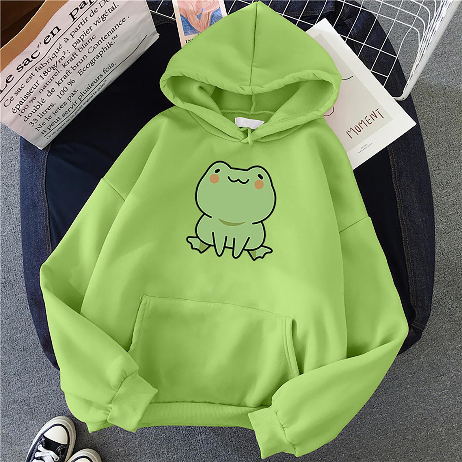 Hoodie Frog Print Vintage Harajuku Women's Winter Hoodie Kawaii Cute Casual Streetwear Oversize Top Cool Women Loose Sweatshirts