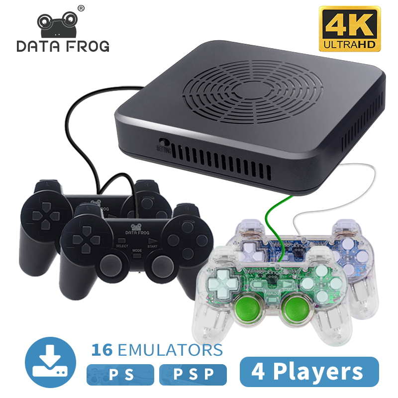 DataFrog WiFi Downloadable 4K Video Game Console For PS1 PSP Retro Game Built-in 150 3D Games 3400 Games Support 4 Player