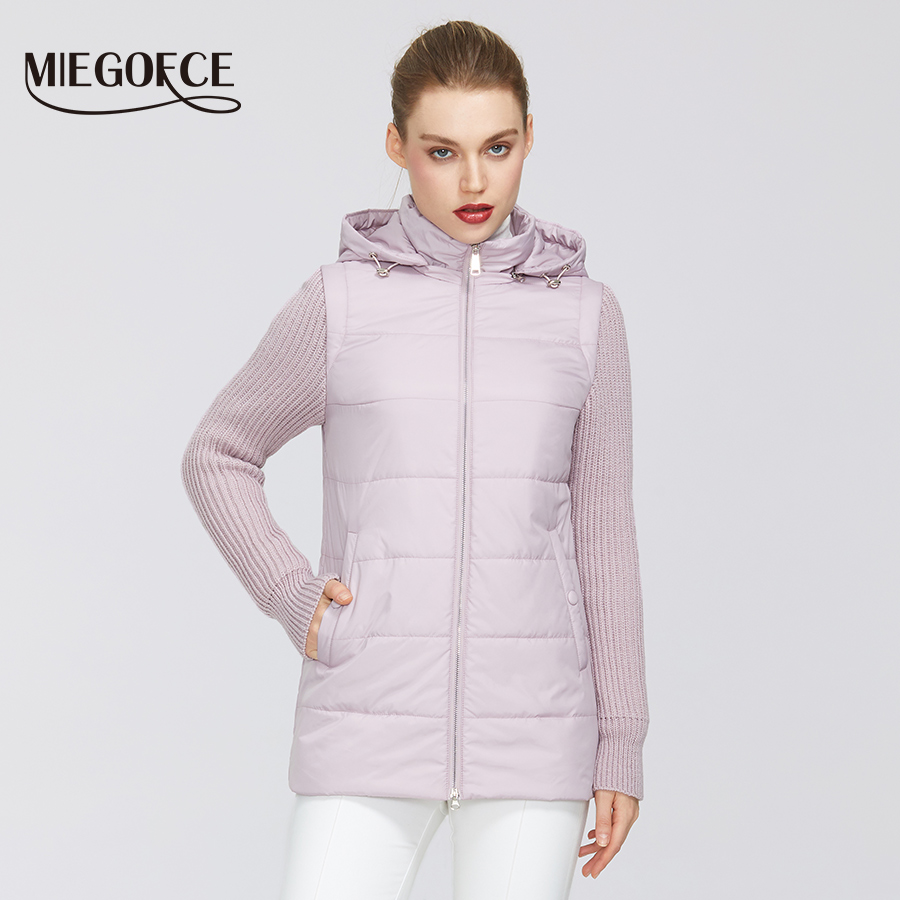 MIEGOFCE 2020 New Spring Women Collection Jacket Windproof Double-Material Zipper Jacket Shortthwith Resistant Collar