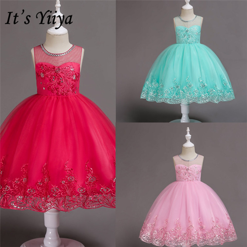 It's Yiiya Flower Girl Dresses For Weddings Lace Appliques Crystal Short First Communion Dresses Kids Dresses For Girls 561
