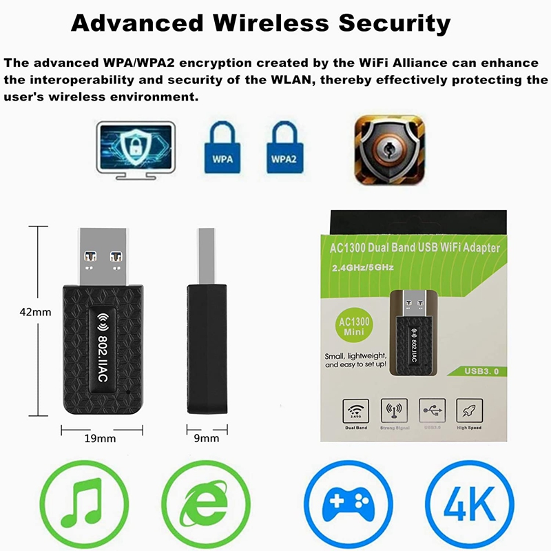5Ghz Wifi USB Wifi Adapter AC 1300Mbps Wi-fi Adapter USB 3.0 Ethernet Wi Fi Antenna Dual Band 2.4G&5G Wifi Module For PC Laptop 6