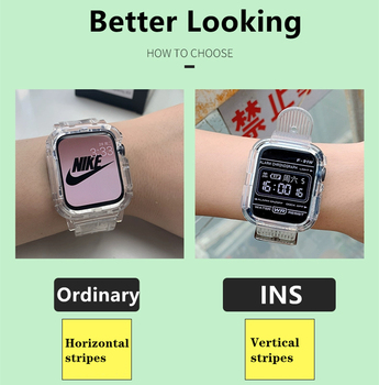 Newest Clear Band + Case for Apple Watch Series 6 SE 5 4 44mm 42mmTransparent for iwatch Strap 3 2 1  38mm 40mm Plastic Strap 2