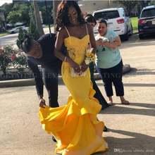 Желтое кружевное вечернее платье Русалка на бретелях спагетти