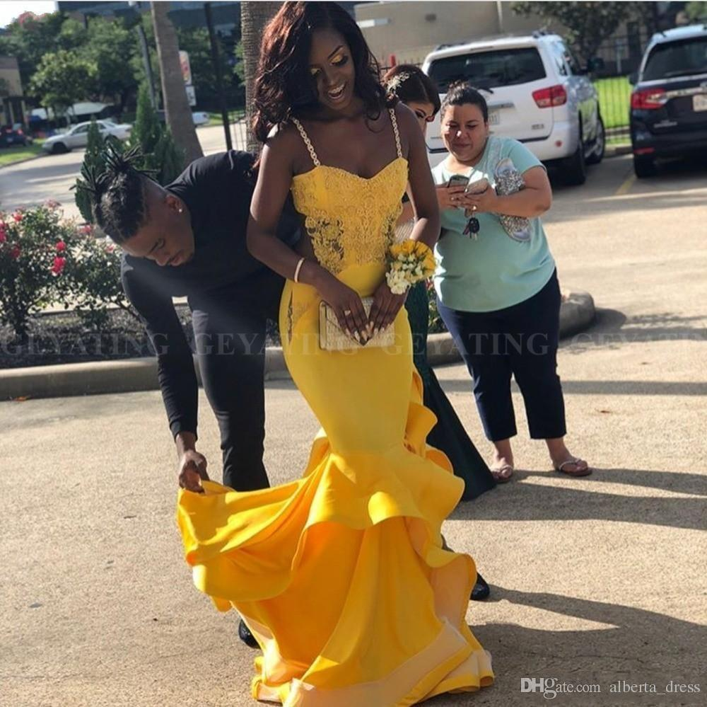 Spaghetti Yellow Mermaid Lace Evening Dress 2019 Appliques Beaded Ruffles Tiered Skirts South African Prom Dresses Occasion