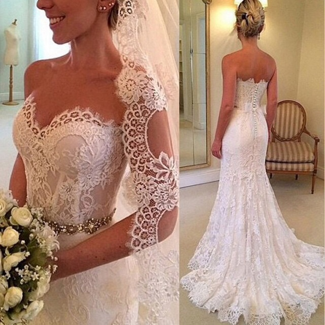 Free Shipping Casamento New Vestido De Noiva 2018 Crystal Sexy Beading Sweetheart Lace Bridal Gown Mother Of The Bride Dresses