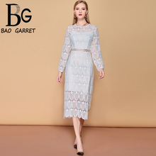 Baogarret 2019 Fashion Holiday Party Midi Elegant Dress Womens Long Sleeve Vacation Solid Hollow out White Lace