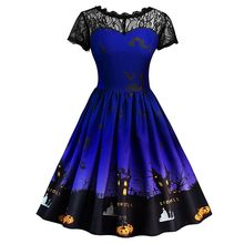 JAYCOSIN Jurk Vestidos Halloween Kant Korte Mouw Jurk Vrouwen Vintage Gown Avond Party Dress Dames Vadim Plus Size 19OCT7(China)