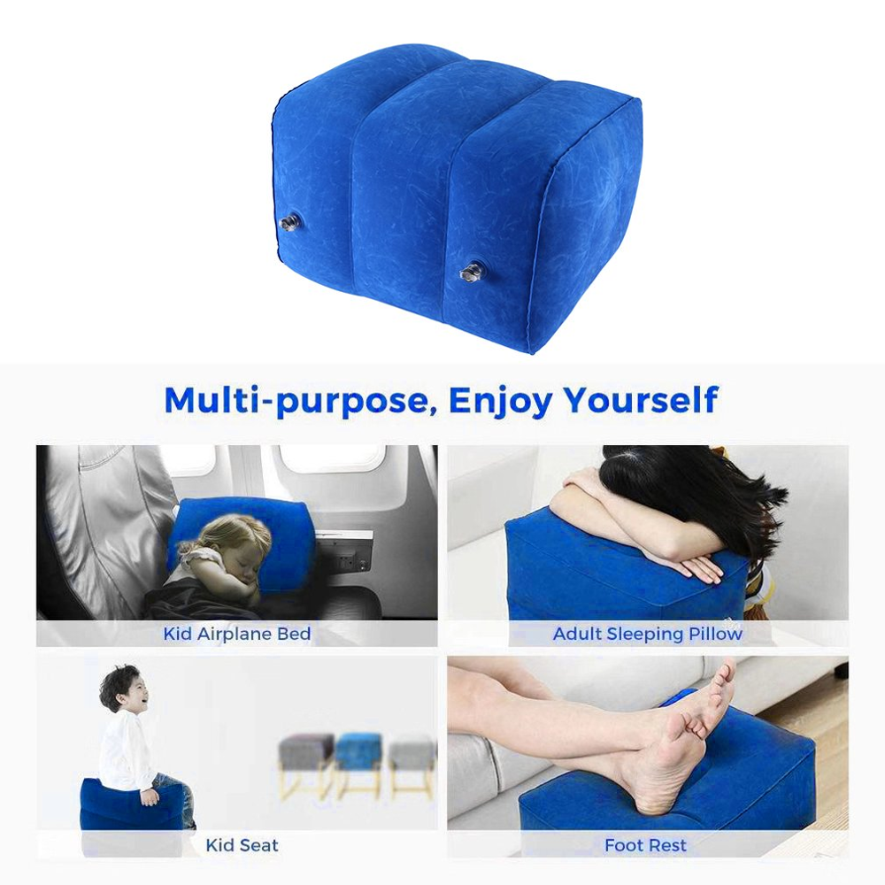 Flocking Travel Inflatable Foot Pad Footstool Aircraft Warm Foot Stepping Mat Folding Adjustable Foot Stool