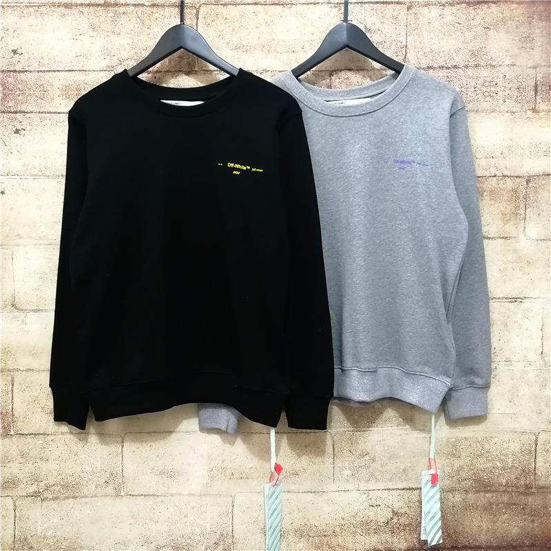 Off White Loose Women's Round Neck Sweater Couples High Street Oversize Pullover Hoody Men And Women