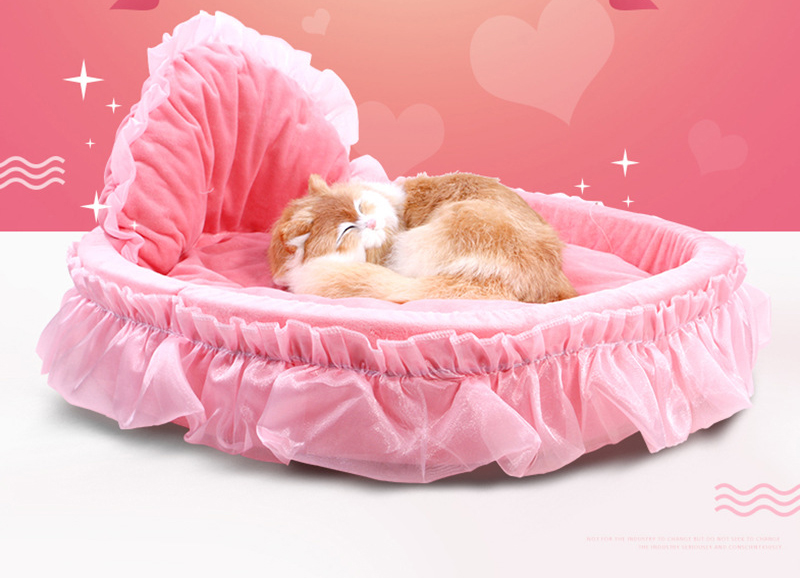 Princess  lovely Dog Cat Bed Soft dog kennel Luxury bed for Small Dogs Sweet pet bed sofa for Bichon teddy house Coral Fleece 1