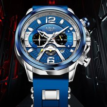 Часы наручные lige мужские с силиконовым ремешком роскошные
