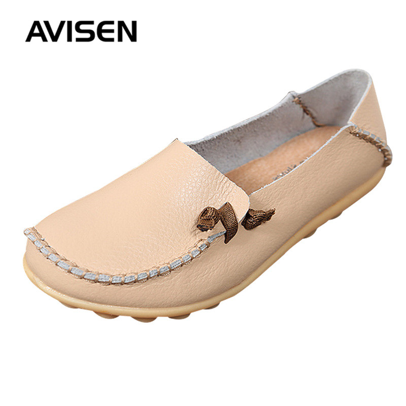 2019 Spring High Quality Women Shoes Waman Genuine Leather Shoes Ballet Flats Loafers Slip On Candy Color Zapatos De Mujer Shoes