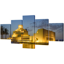Vtuart Dohaqatar Museum Islamic Art Doha HD Picture Printed Five Panels Canvas Wallart for Home Deco House Wall Art cheap Canvas Printings Multi-picture Combination Waterproof Ink Landscape Streching Traditional ISLA3686 Spray Painting Irregular