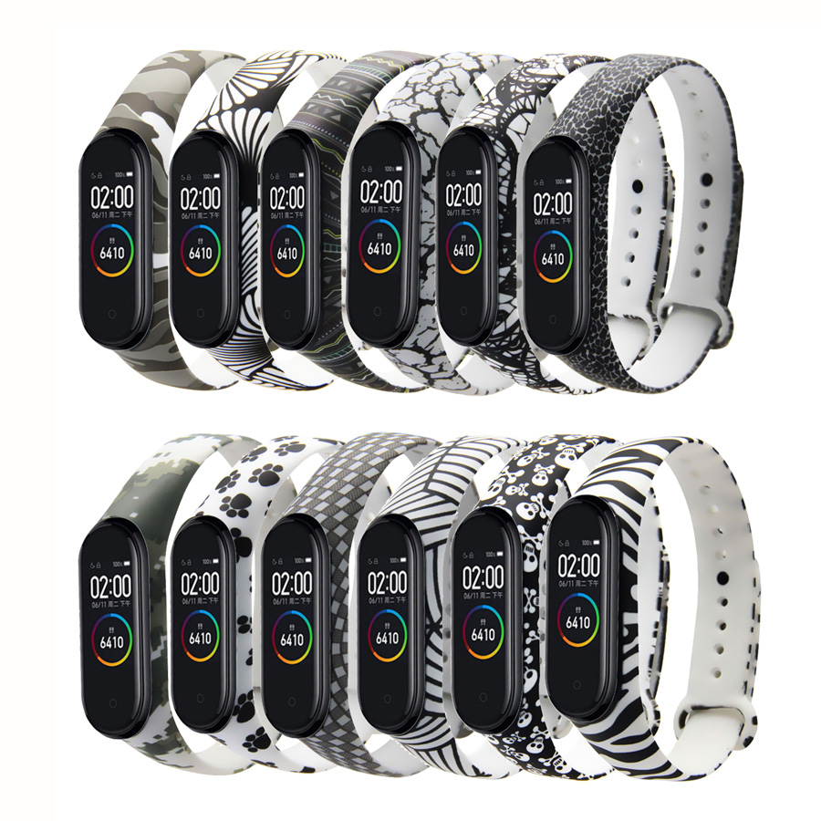 For Xiaomi Mi Band 3 4 Painted Sport Strap Watch Silicone Wrist Strap For Mi Band 3 4 Accessories Bracelet Miband 4 3 Strap