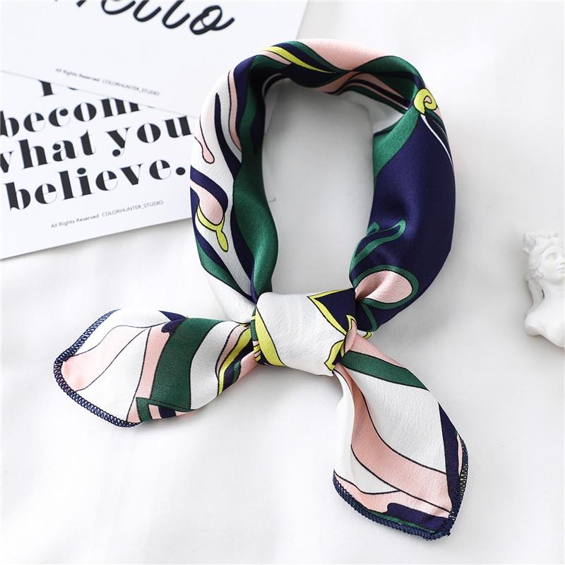 2020 New Silk Women Hair Scarf Summer Office Neck Scarves Bag Tie Lady Print Foulard Headband Vintage Skinny Satin Kerchief