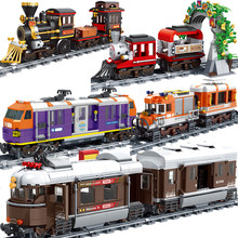 MOC 479pcs City Long Distance Train Creator Building Blocks DIY Assembly Bricks Educational Toys For children birthday gifts