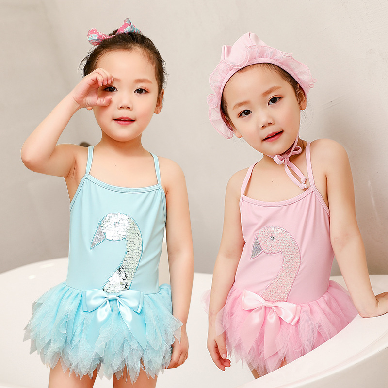 Cross Border INS Hot Selling KID'S Swimwear Girls 2019 One-piece Swan Qun Swimwear New Style Baby Swimming Cap Set