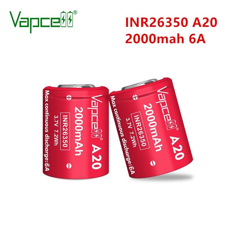Vapcell оригинальный 26350 2000 мА/ч, 6A A20 литий-ионная батарея 3,7 V Перезаряжаемые литиевых батарей для фонарик Набор Бесплатная доставка