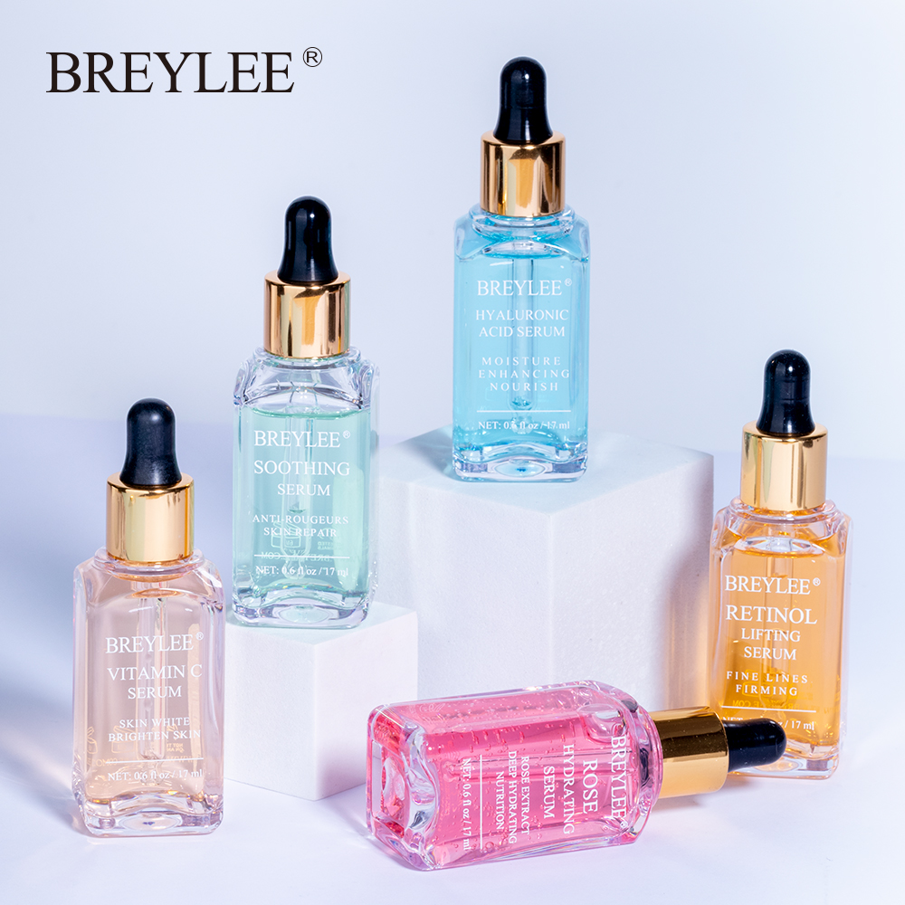 BREYLEE סרום סדרת חומצה היאלורונית ויטמין C הלבנת פנים טיפוח עור עלה להזין 24k זהב מוצק מרגיע תיקון מהות 1pcs