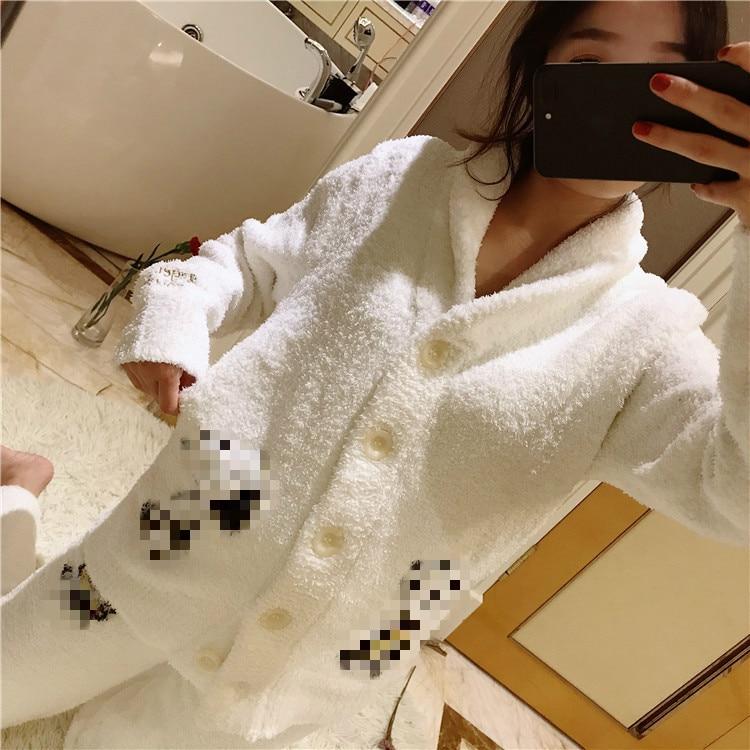 Pajamas Cardigan Floral Autumn & Winter Flannel Down Polyester Set Polar Fleece Knit Full Dollar