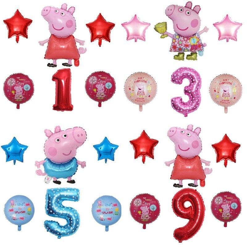Свинка Пеппа воздушный шарик из фольги в форме комплект 32 дюймов номер Детская воздушный шар на день рождения с изображением свинки George Peppa ...