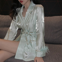 spring and autumn lazy pajamas style lady shirt blouse smooth bead light feather women shirt prevented bask shirt coat