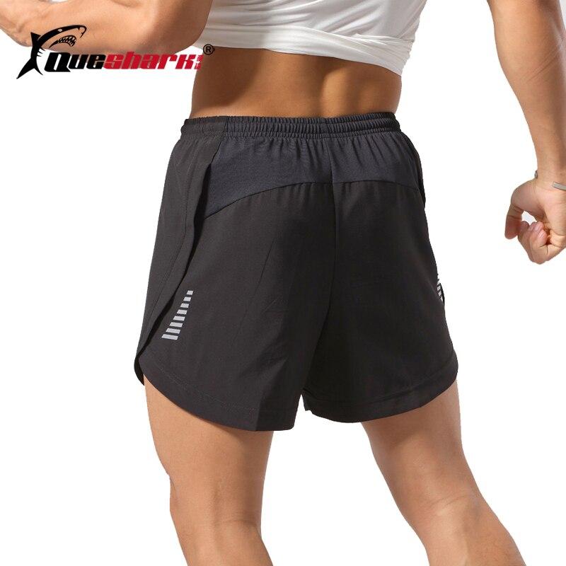 Профессиональные мужские быстросохнущие шорты Queshark для бега, уличные спортивные тренировочные трусы, светоотражающие шорты для фитнеса, бега, марафона
