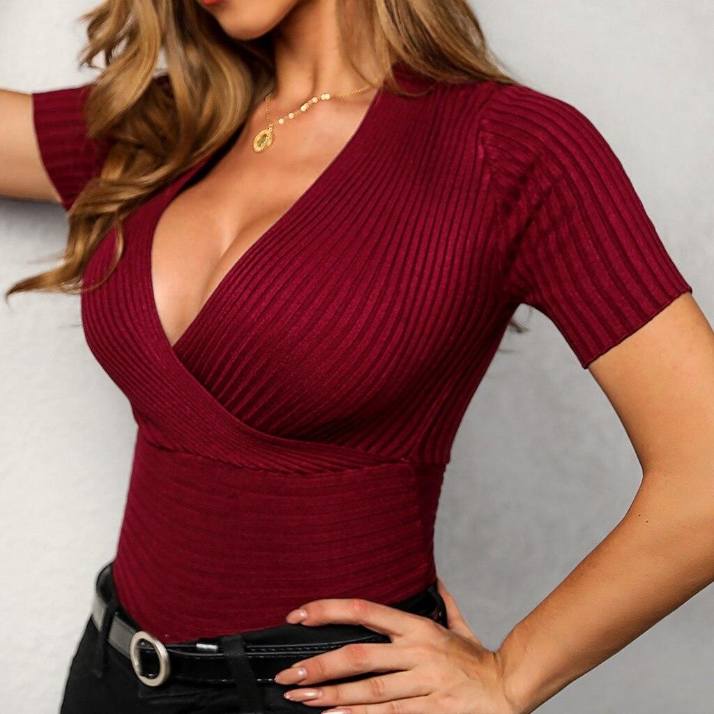 Sexy V Neck Blouse Women Short Sleeve Tops Elasticity Red Shirt Silm Blusas Mujer De Moda