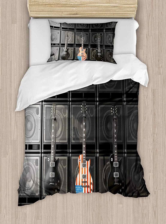 Американский флаг пододеяльник набор черный и американский бас гитара электронная рок музыка тема цифровая Графическая работа декоративная 2 шт.