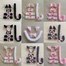 Повязка на голову с мультяшными кошачьими лисьими ушками и колокольчиками; повязка на голову с бантом на шею; карнавальный костюм горничной из аниме; нарядное платье; вечерние костюмы для женщин и девочек