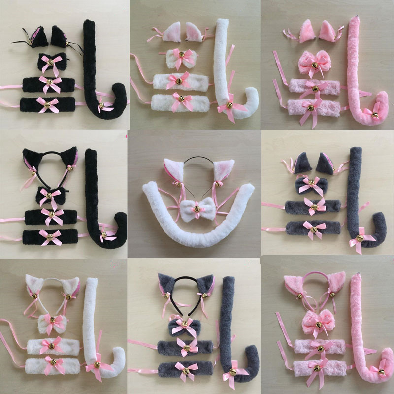 Cartoon Cat Fox Ear Bell Headband Bow Neckwear Wristband Anime Housemaid Cosplay Fancy Dress Set Women Girls Party Props Costume(China)