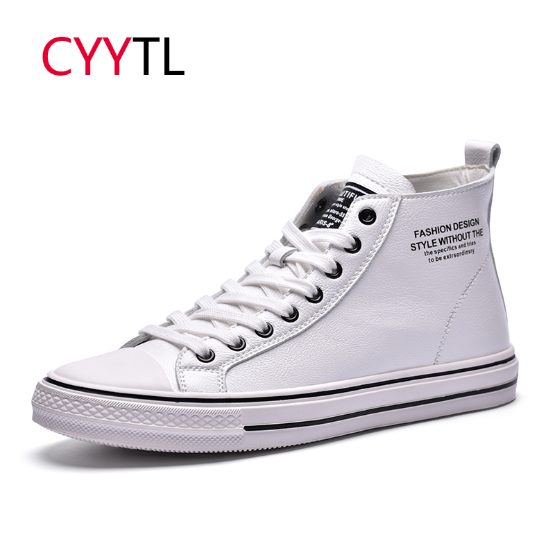 CYYTL 2019 Winter Shoes Men High-top Fashion Leather Sneakers Casual Lace-up Outdoor walking Tenis Masculino Zapatillas Hombre