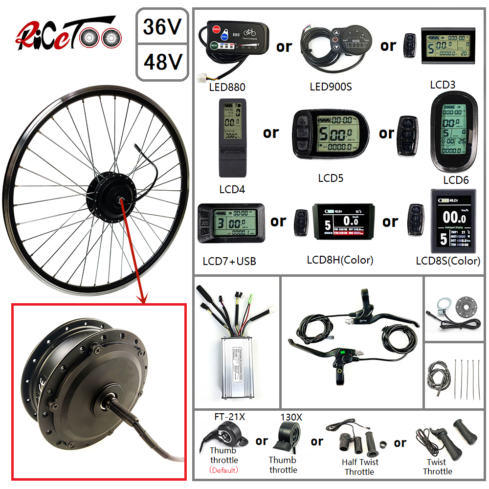 RICETOO Electric Bicycle Kit 36V//48V 500W Hub Front Spoke Wheel Brushless Gear Motor 16 20 24 26 27.5 28 700C with KT-LCD7 Display Ebike Conversion kit