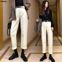 Apricot Jeans Carrot-Pants Beige Daddy Women's Spring High-Waist Casual Autumn Loose