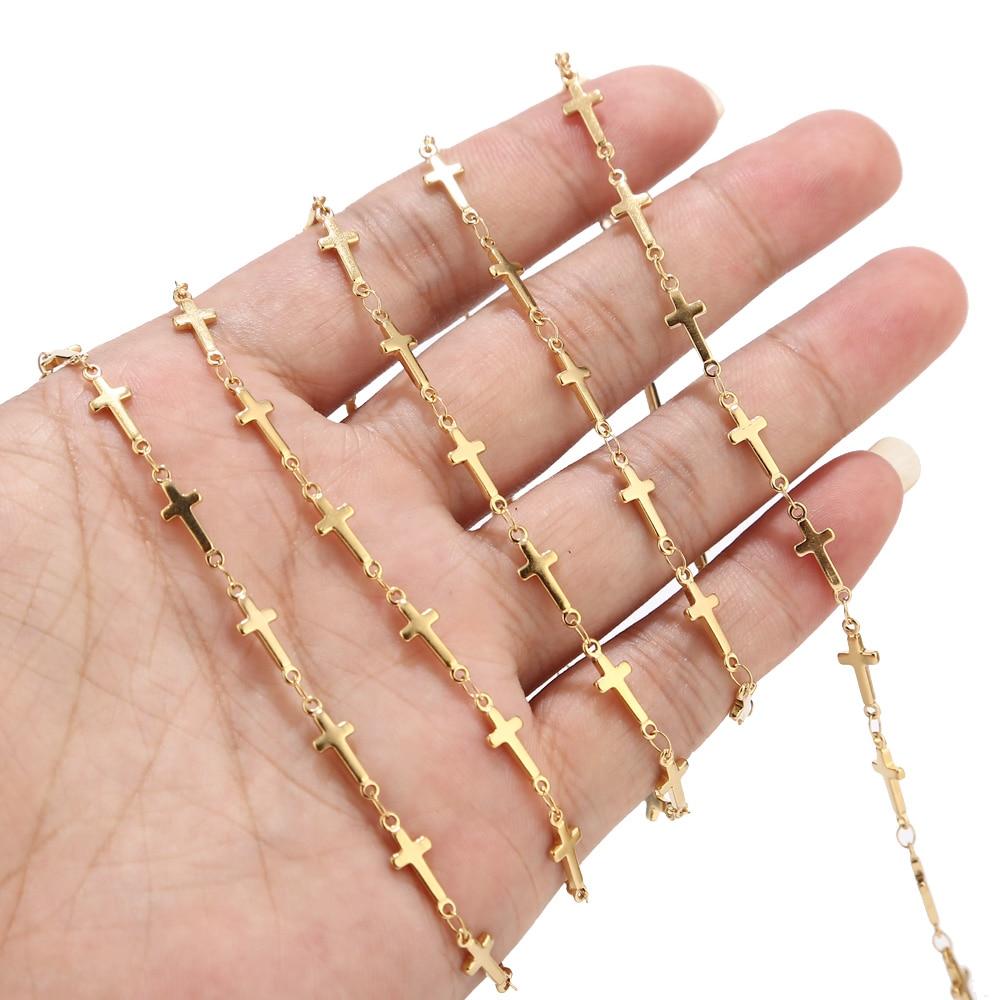 10 Meters Gold Cross Chain Stainless Steel Handmade Link Chain For Making Girl Women Choker Necklace Bracelet