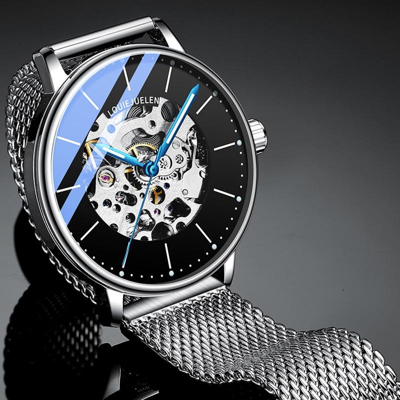BELUSHI Top Brand Luxury Automatic Mechanical Watch Men Business Stainless Steel Waterproof Tourbillon Watches Relogio Masculino