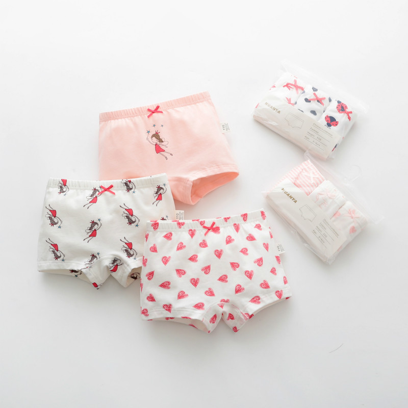 3pcs/lot Girls Baby Boy Children Underwear Underpants Kids Panties Panty Dinosaur Dot Heart Emojo Briefs Infant Teenagers 3-8Y
