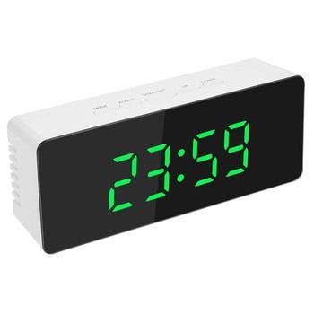 Mirror LED Alarm Table Clock Luminous Digital Snooze Time Temperature Wake Up Light Backlit Desk Clock Bedroom 3AAA/USB Charging