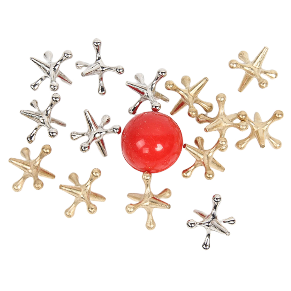 Новый металлический игровой набор с мячом, 10 штук, золотистые, серебристые, металлические домкраты и надувной мяч, набор игровых призов Вече...