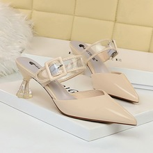 Women shoes summer fashion patent leather sexy casual 5cm high heels Female shoes sequins ladies sandals 2020 explosive slippers