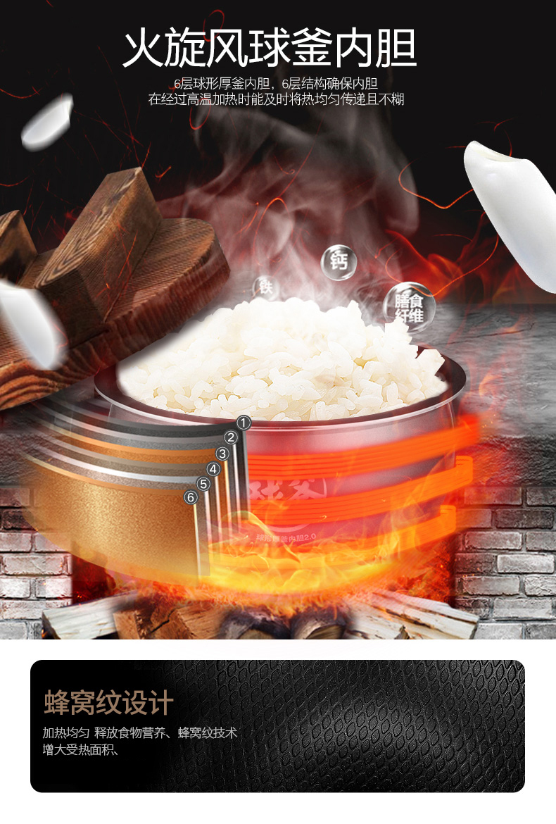 Ball Kettle Rice Cooker 5L Intelligent Large Capacity Rice Cooker Home Automatic Multi-function Genuine 8 People 10