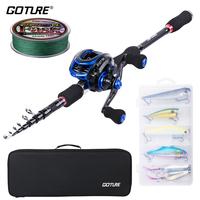 Goture Fishing Rod Combo, Spinning/Baitcasting Rod and Reel Set with Line Lures Tackle Carrier Bag Kit for Adults Travel