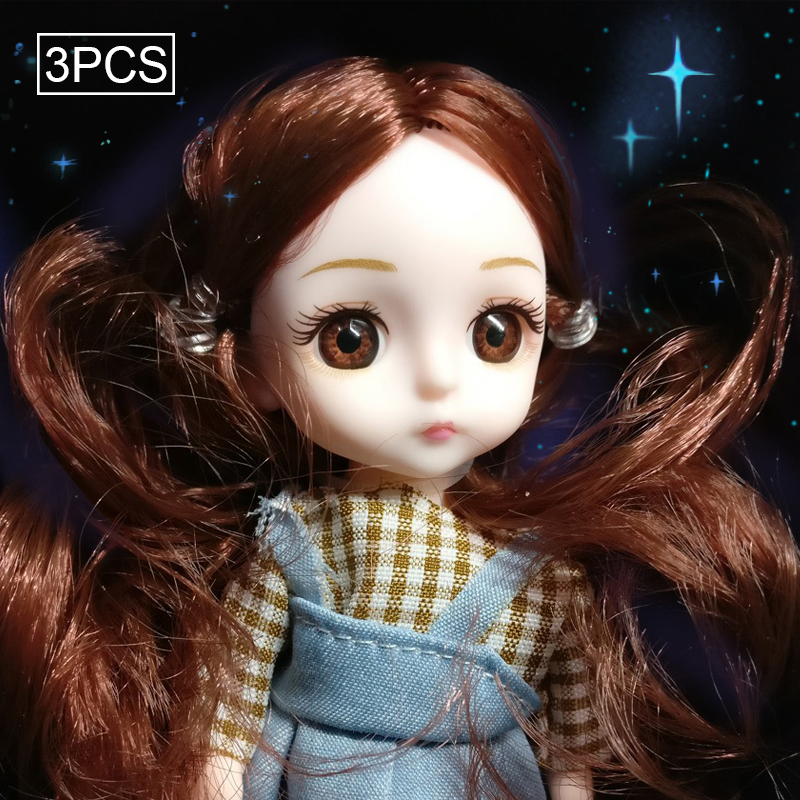 3PCs Replaceable Joint Princess <font><b>SD</b></font> Doll 16cm Simulation Doll Girl's Toy <font><b>BJD</b></font> Doll image