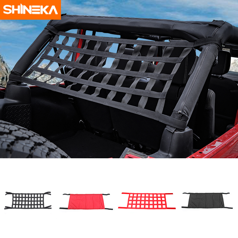 SHINEKA Top Roof Bed Waterproof Cover Rest Storage Network For Jeep Wrangler TJ JK JKU JL 1997-2019 Exterior Accessories