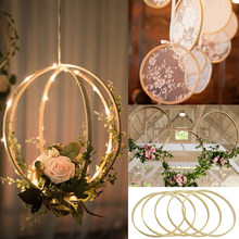 5P Round Bamboo Floral Hoop Wreath DIY Hanging Pendant Ornament Craft Wall Decor For Easter Wedding Party Decoration Floral Hoop