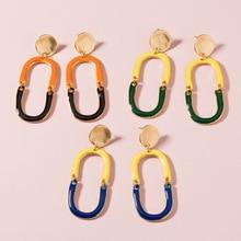 ZWPON Two-Tone  Enamel U-shape Drop Earrings Enamel Horseshoe Zinc Alloy Drop Earrings for Woman Female Jewelry two tone hollow face design drop earrings
