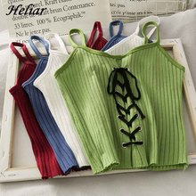HELIAR Women Crop Tops Spaghetti Straps Knitting Camisole Female Cross Drawstring Solid Sexy Crop Top For Women Summer