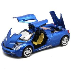 Image 1 - Коллекция литого под давлением, масштабная модель Pagani Huayra для мальчиков/Детская Металлическая Игрушечная машина, подарок с открывающимися дверями и функцией Оттяжки