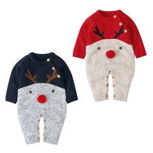 0-18M noworodka dziewczynka chłopiec zima boże narodzenie renifer dzianiny Romper kombinezon ogólnie sweter ciepły jesień jesień wełna Xmas ubrania